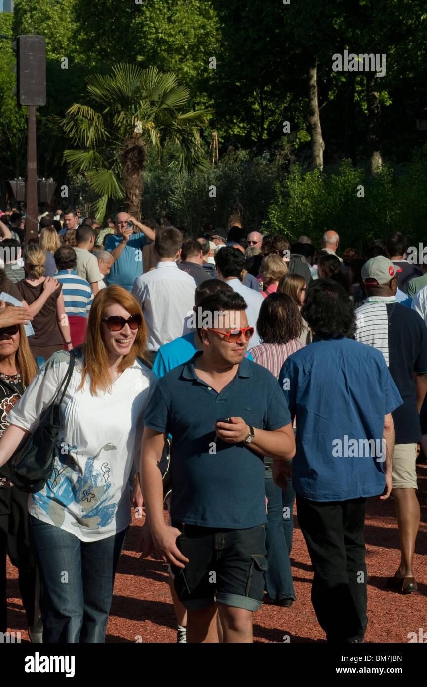 Paris, France, Crowd of Tourists, Promenading, Champs-Elysees, French Farmers Giant Garden, City Center, 'Nature - Stock Image