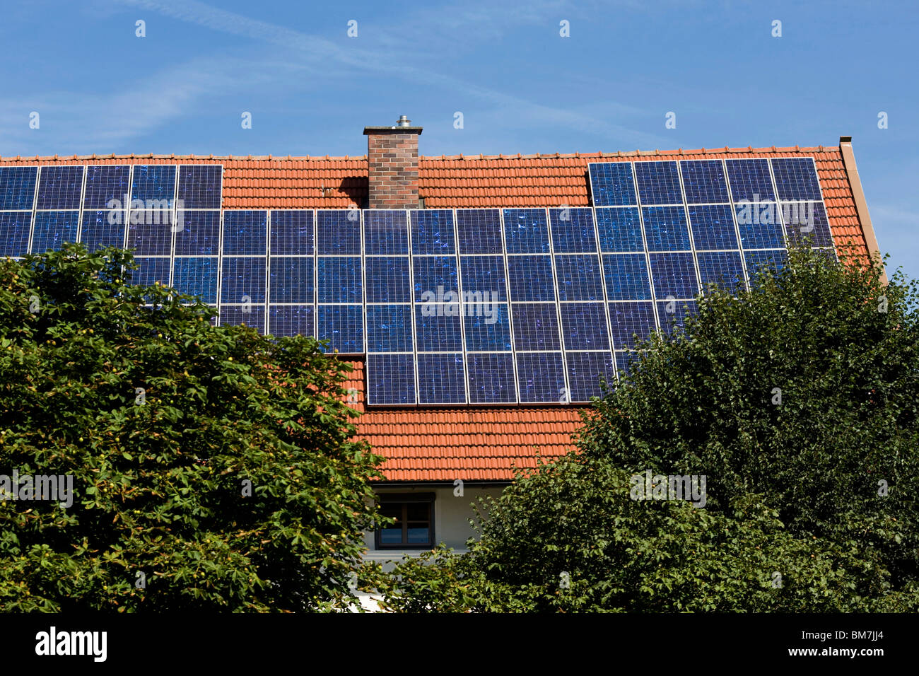 Germany: solar panels on a house - Stock Image