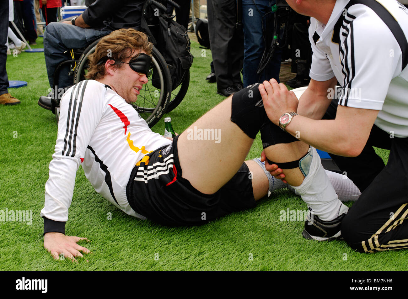 First international match of the German blind footballing team outside the Reichstag building, Berlin, Germany, - Stock Image