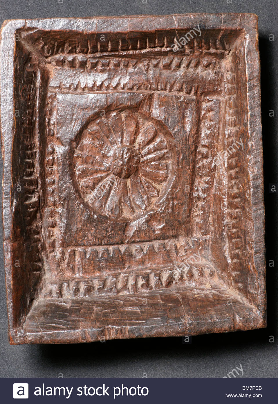 Antique furniture wooden carving - possibly from India - Stock Image