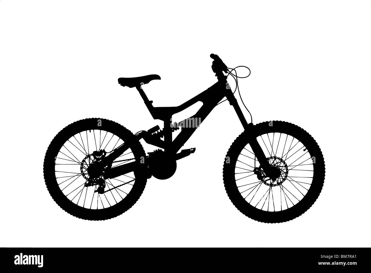 A silhouette of a mountain bike - Stock Image