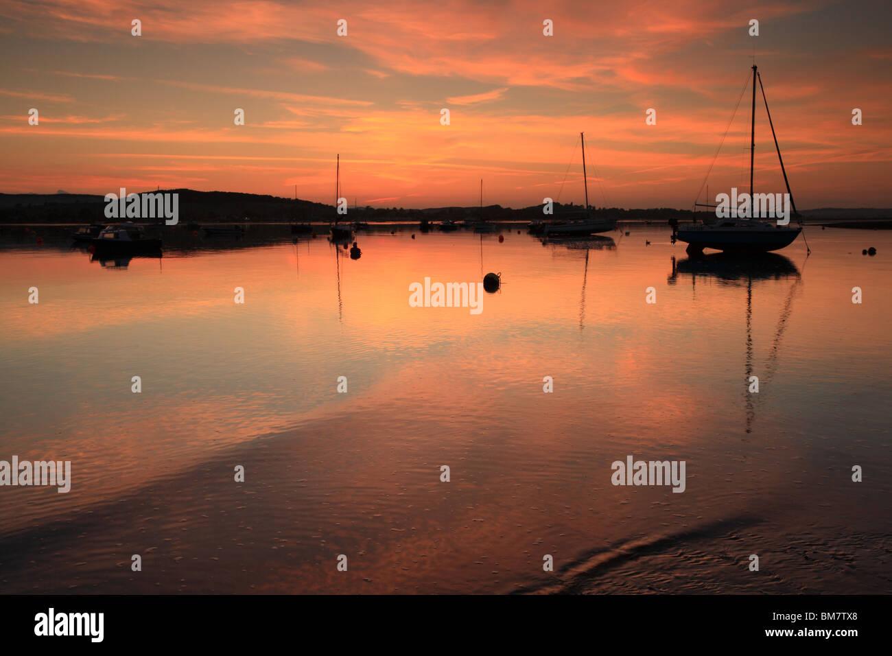 Dusk on River Exe Estuary, view towards Starcross, Devon, England, UK - Stock Image