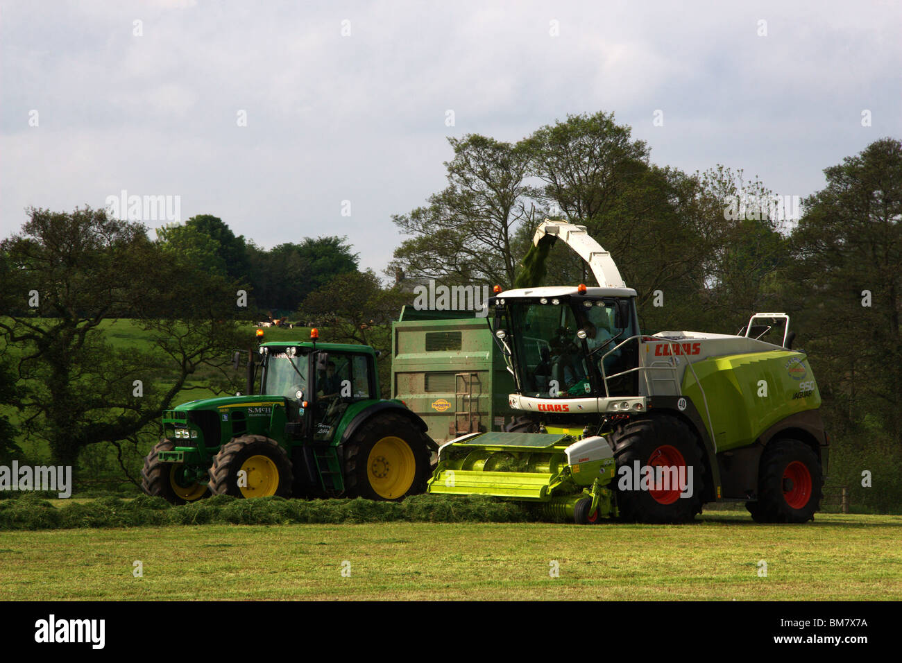 Claas Jaguar 950 with 300 pickup attached and John Deers 7930 Tractor Stock Photo