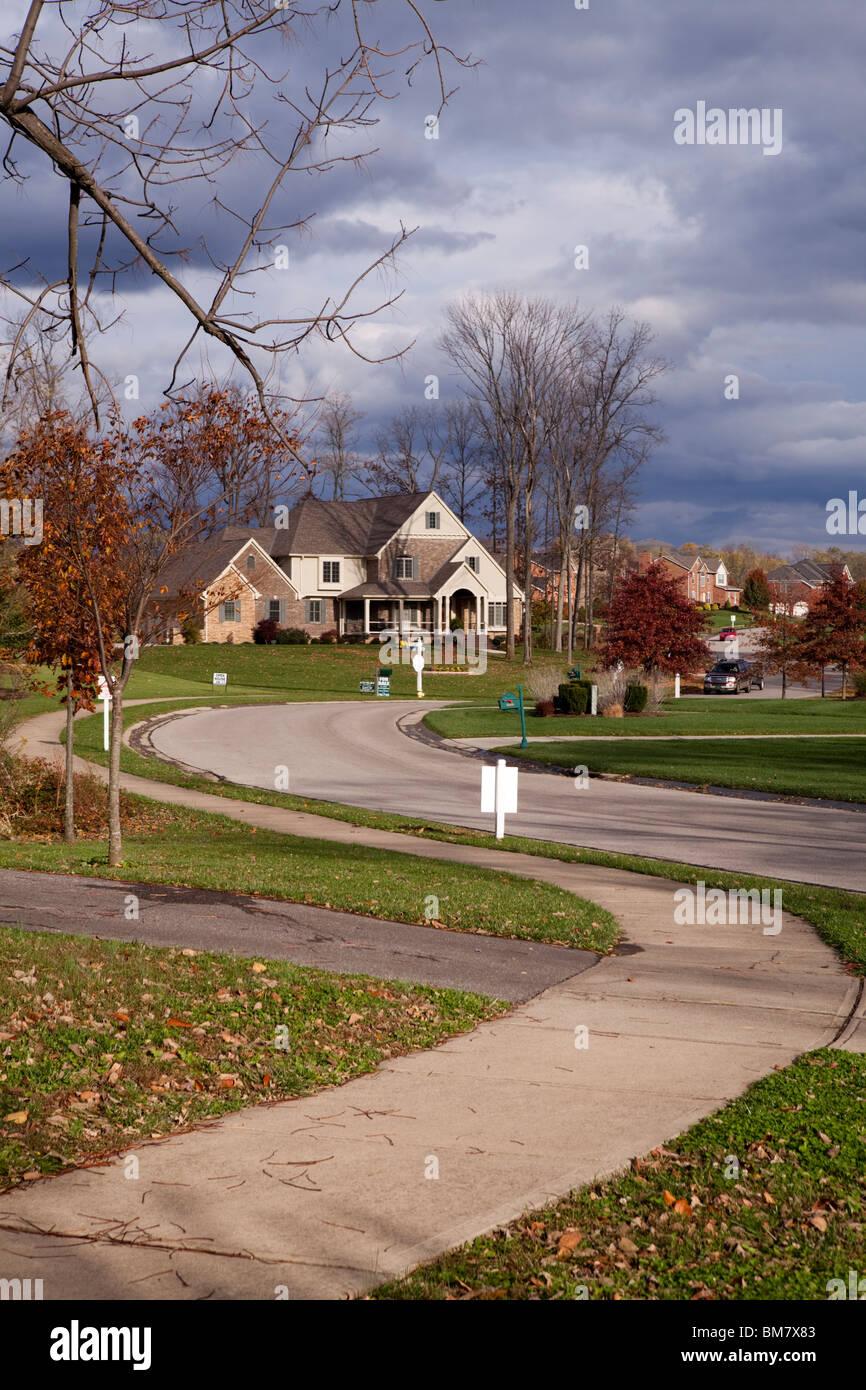 Wealthy neighborhood. Kentucky countryside, USA - Stock Image