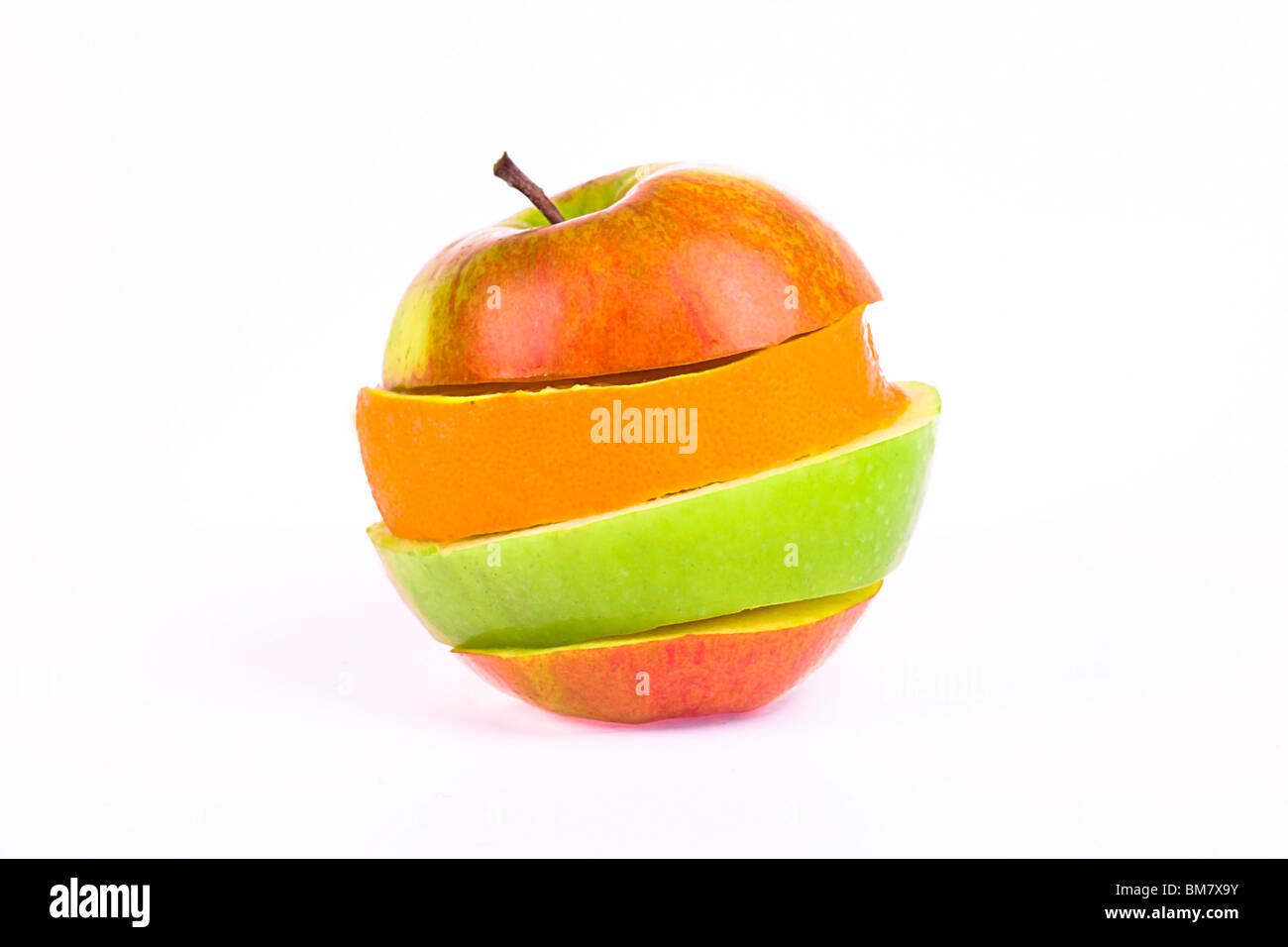 orange and apple slices isolated on white background - Stock Image
