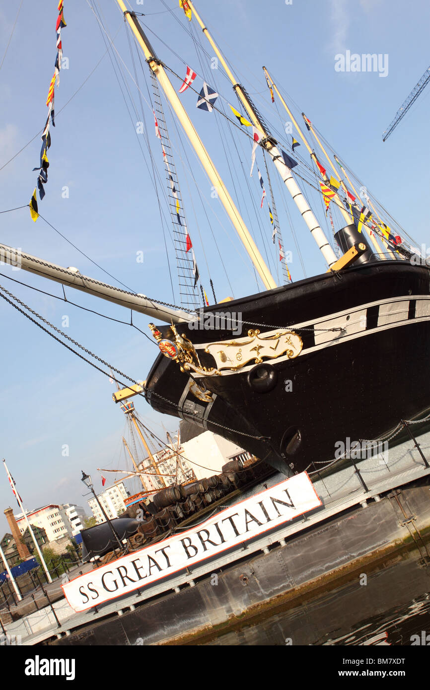 The SS Great Britain steamship preserved in Bristol harbour docks built by Isambard Kingdom Brunel - Stock Image