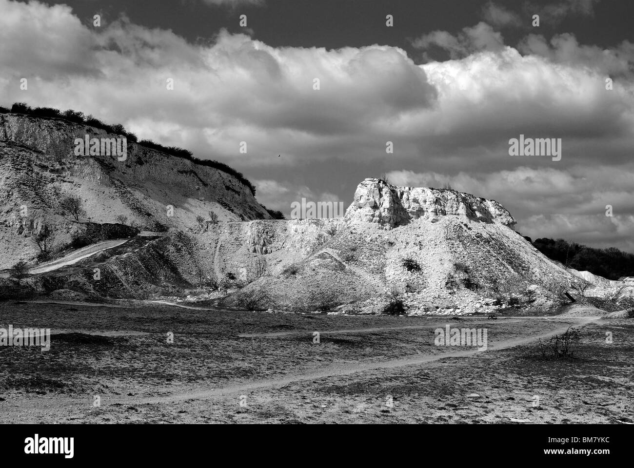 Abandoned Limestone Quarry in Bedfordshire - Stock Image
