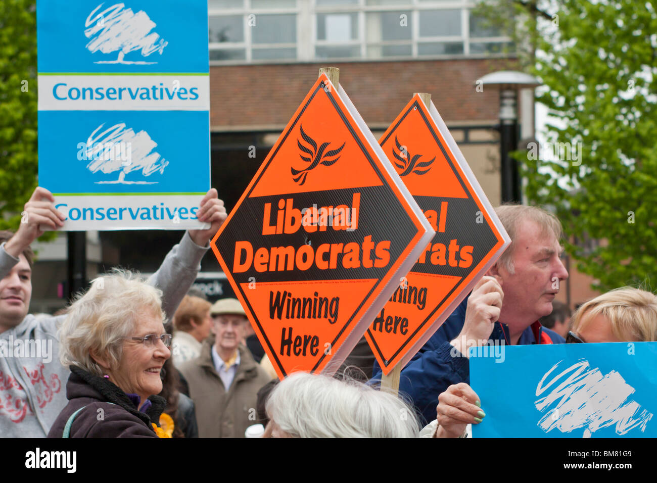 Conservative and Liberal Democrat supporters at an election rally in St Albans - Stock Image