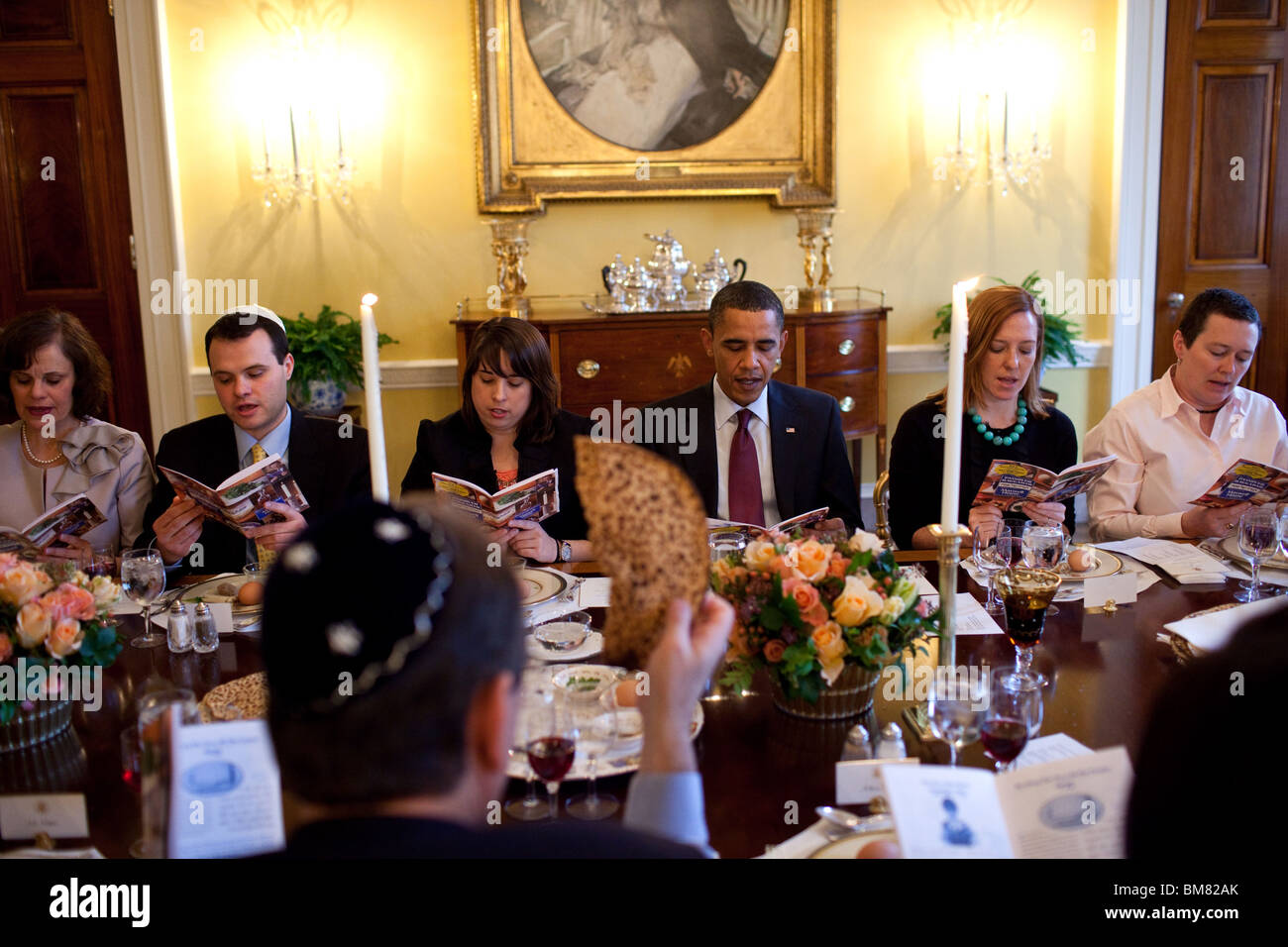 Obama marks the beginning of Passover with a Seder with friends and staff in the Old Family Dining Room of the White - Stock Image