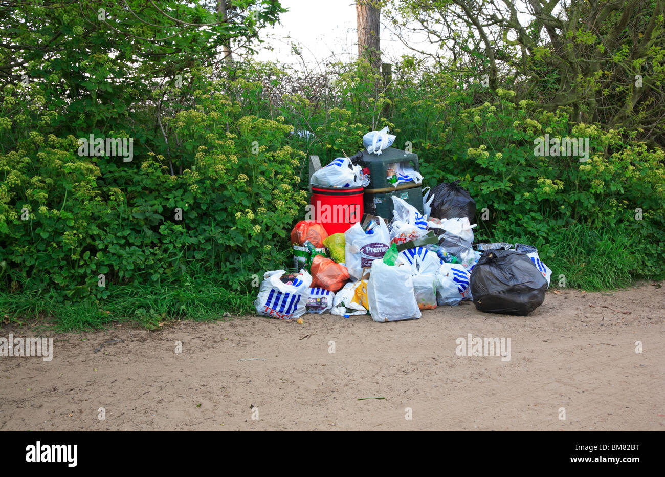 Overflowing rubbish bins in access to beach at Waxham, Norfolk, England, United Kingdom. - Stock Image