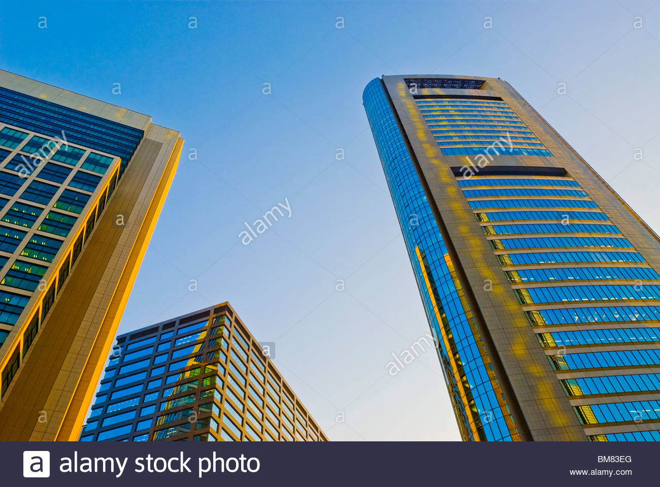Looking Up Skyscrapers in Shiodome. - Stock Image