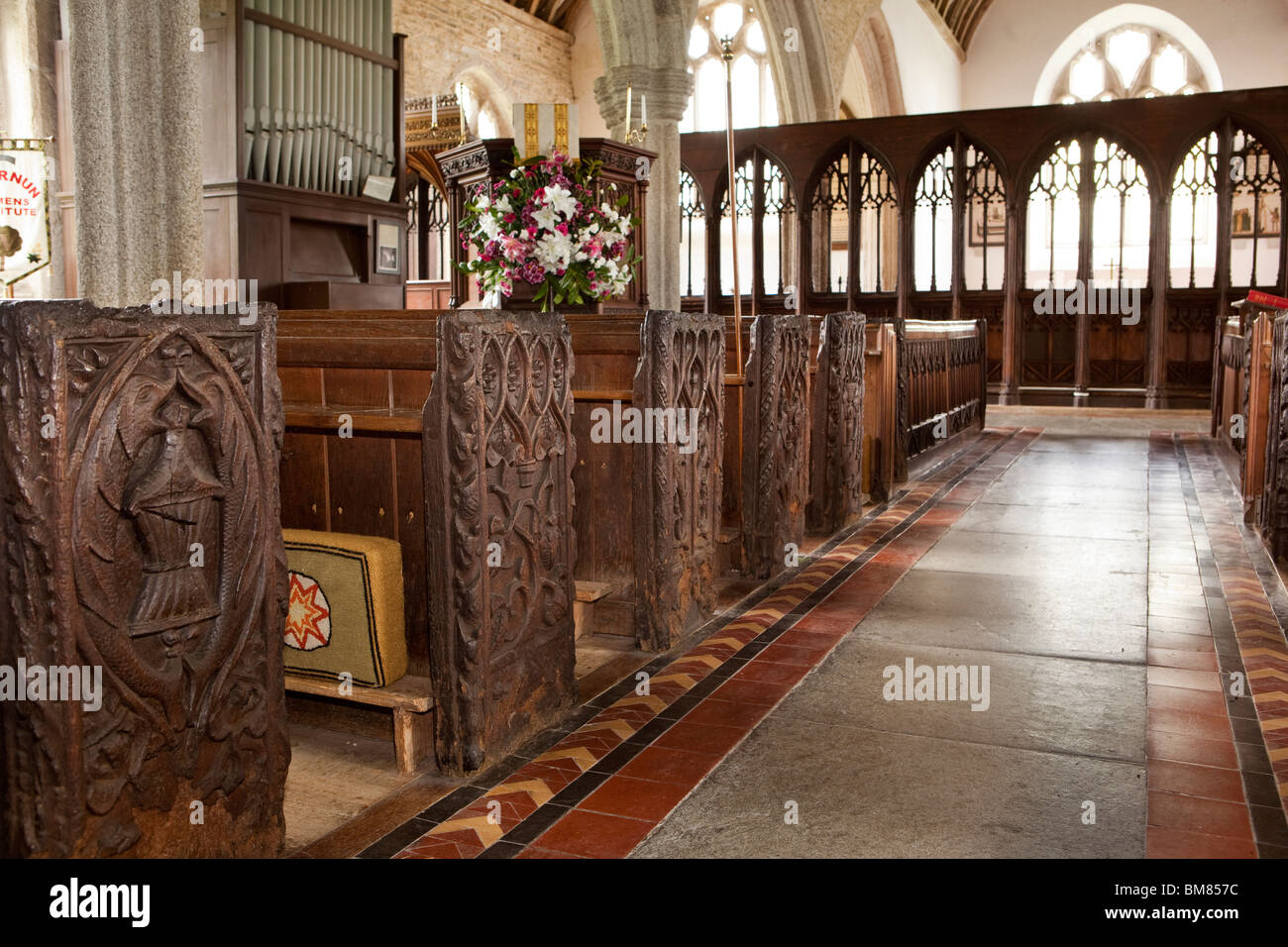 UK, Cornwall, Altarnun, St Nonna's Parish Church interior, 1500s carved wooden pew ends - Stock Image