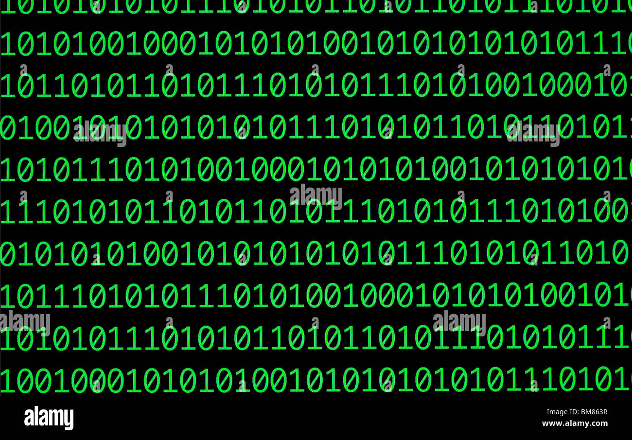 Binary numbers, zeros and ones, in green on a black computer monitor - Stock Image