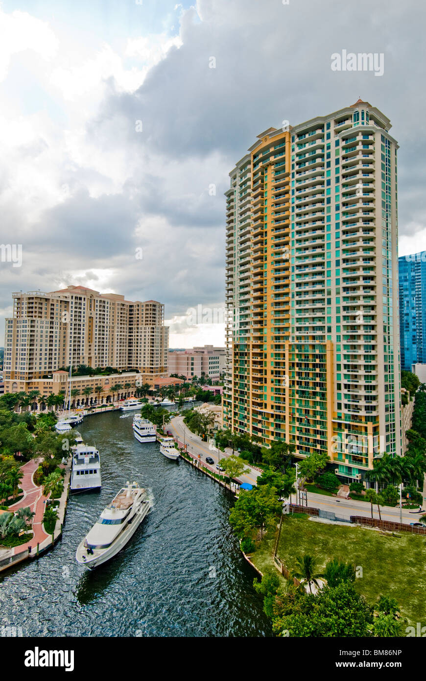 The New River passes through the city center of Fort Lauderdale, Florida, USA Stock Photo