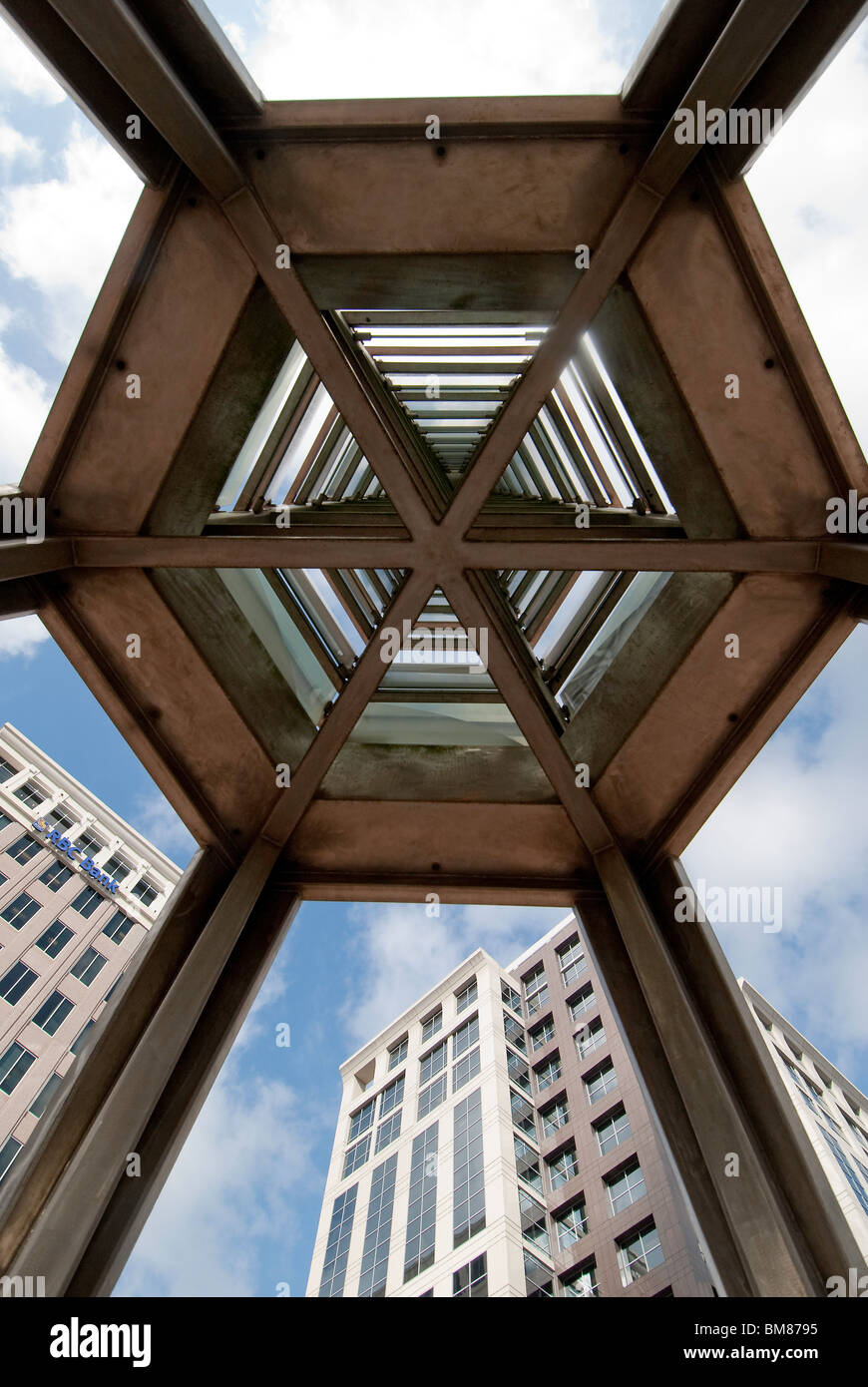 Looking up from under the stainless steel and glass Orlando Tower designed by Ed Carpenter in downtown Orlando, - Stock Image