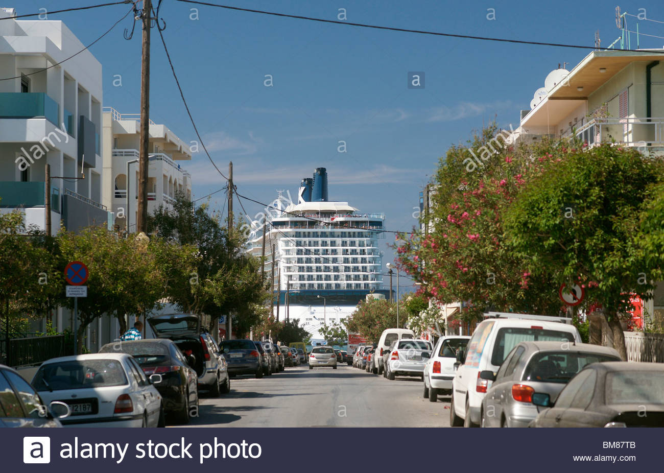 CRUISE liner parked in Greece - Stock Image