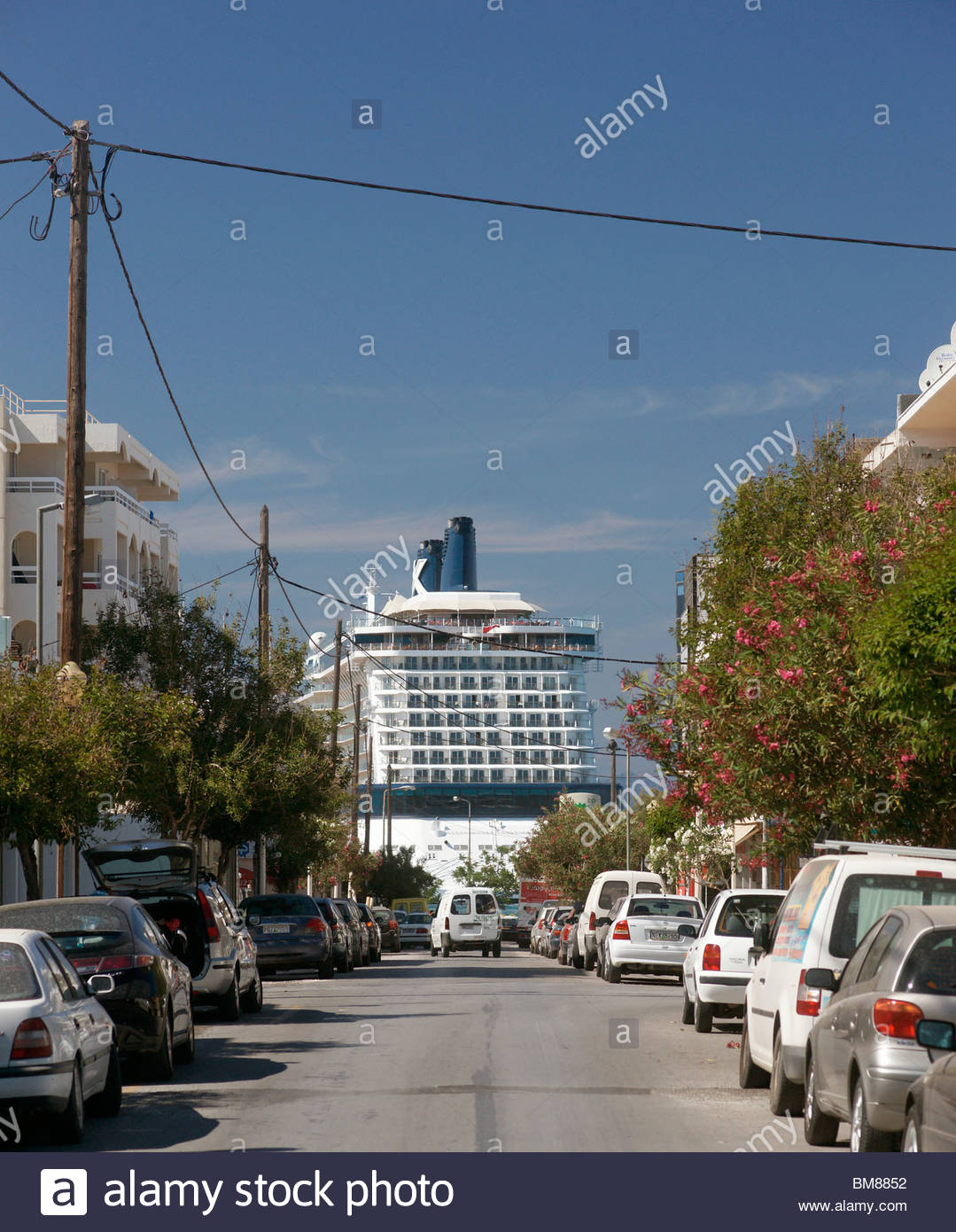 CRUISE SHIP parked in Greece - Stock Image