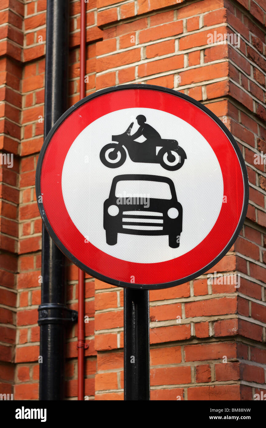 British 'no motor vehicles' road sign - Stock Image