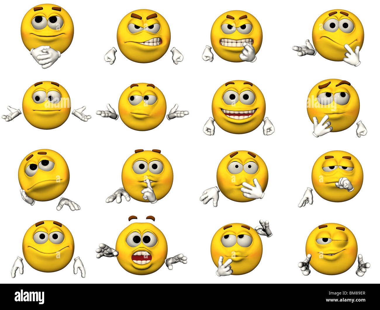 16 isolated illustrations of emoticons - Stock Image