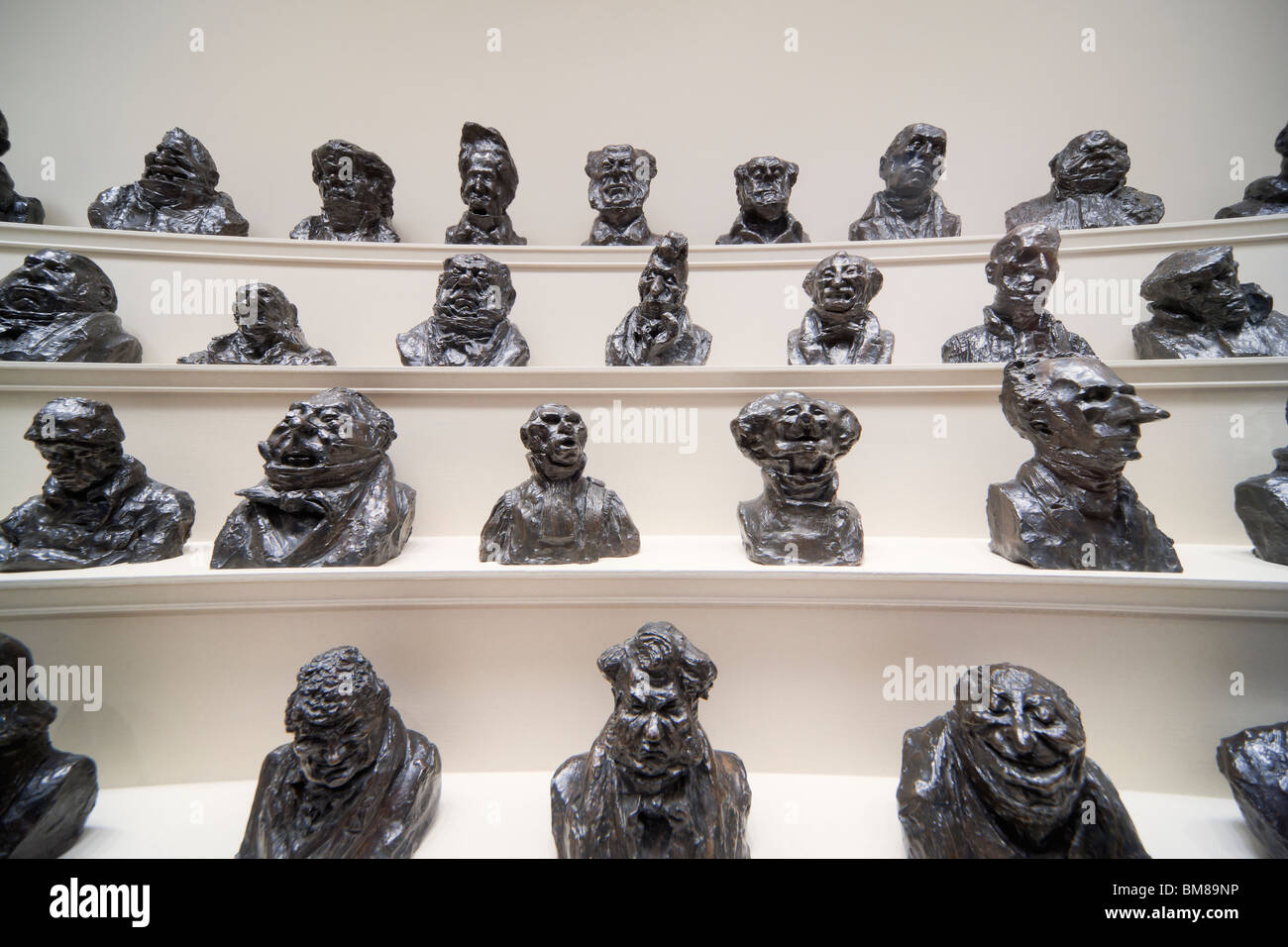 Washington DC National Gallery of Art. Display of a series of bronze casts of caricatures of politicians by Honoré - Stock Image