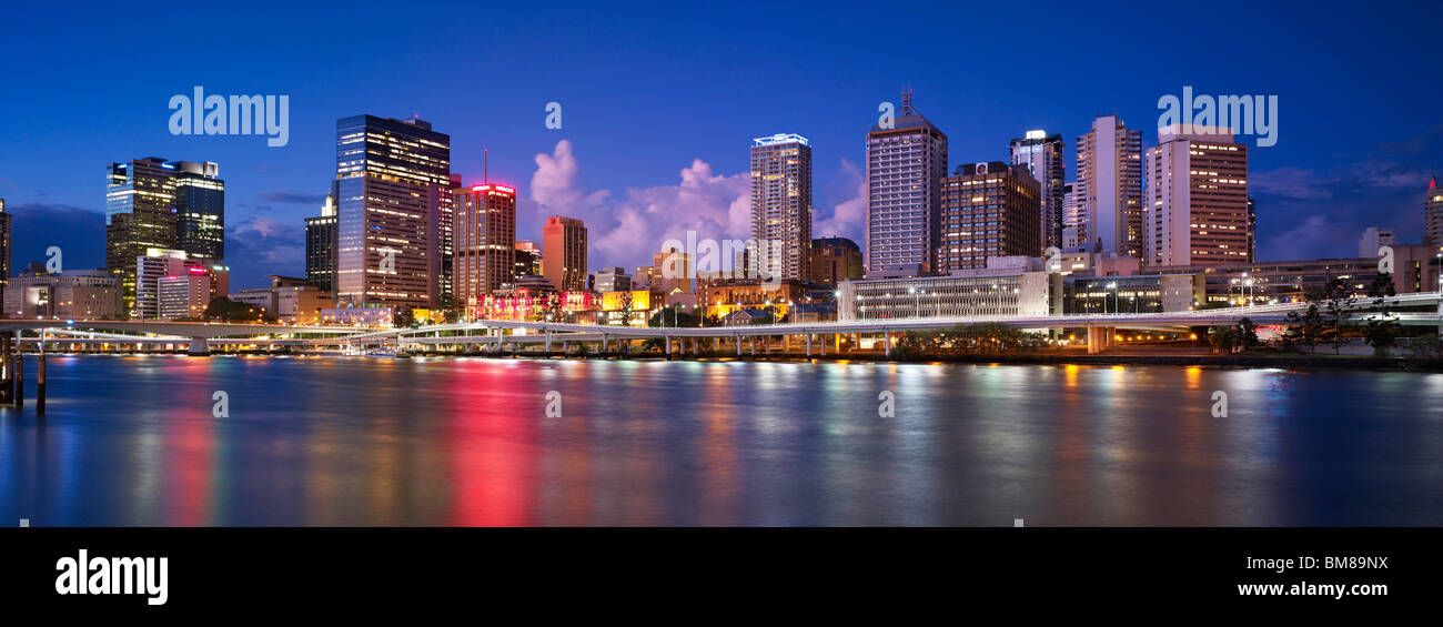Brisbane city panorama by night - Stock Image