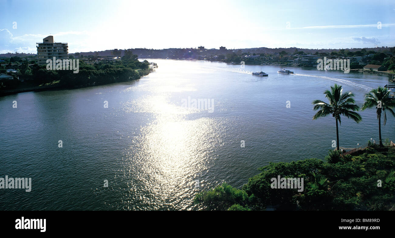 Norman Park reach of Brisbane River Queenland Australia - Stock Image