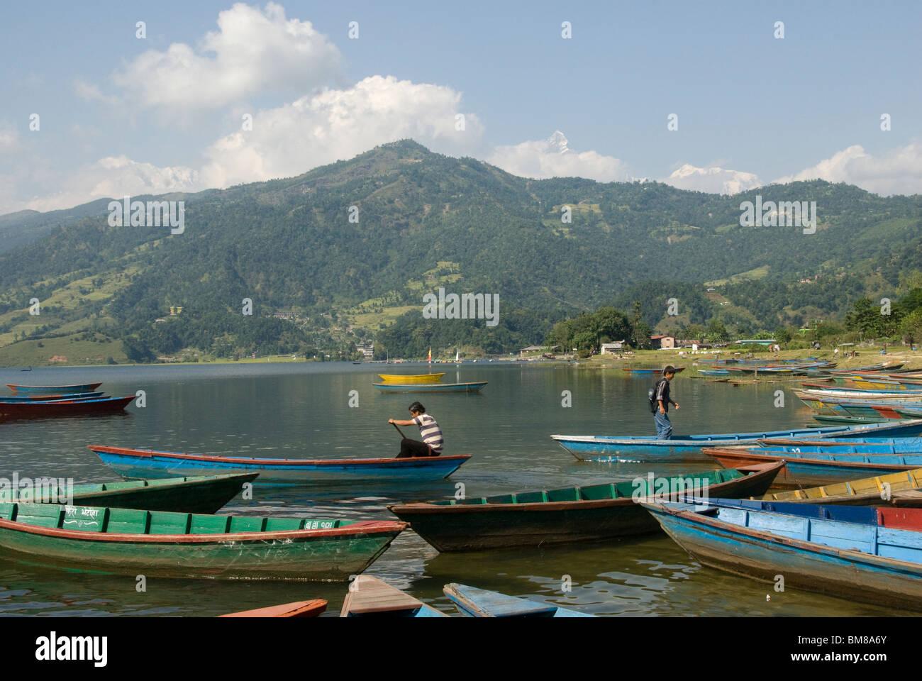 Boats on lake, Phewa Tal lake, Pokhara, Nepal - Stock Image