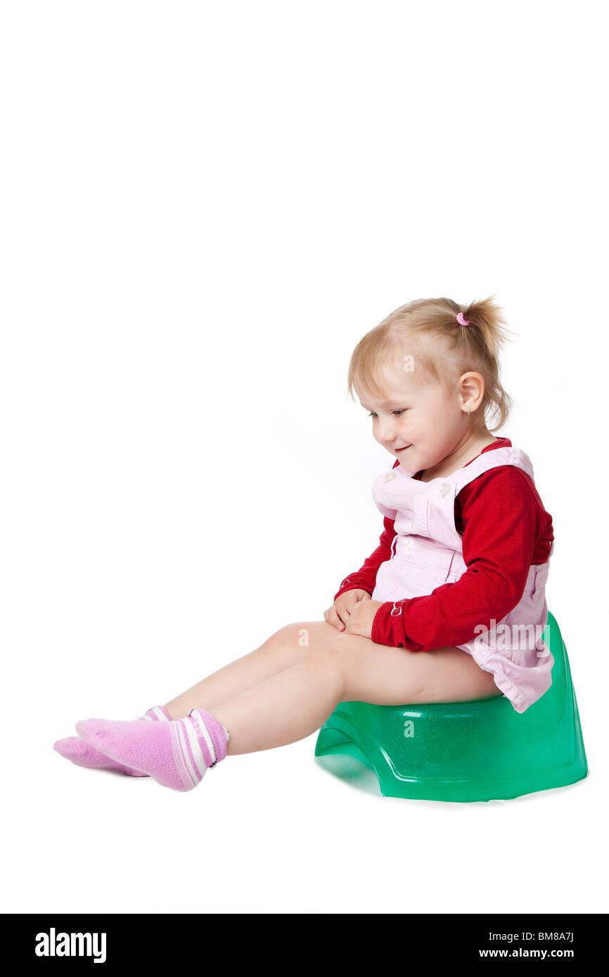 Little Girl Sitting On Toilet Stock Photos & Little Girl