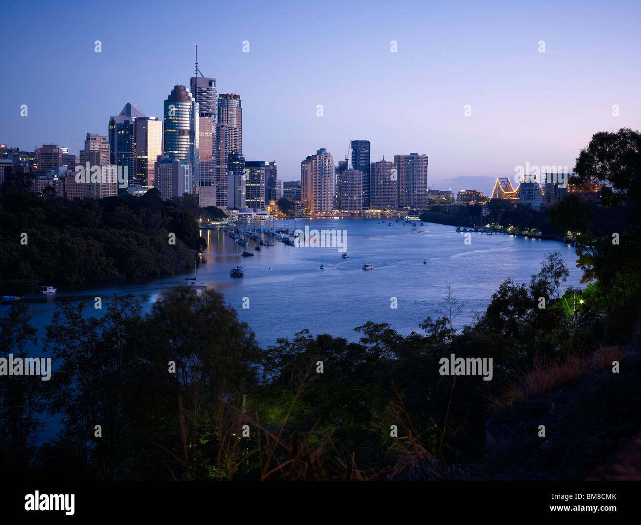 Brisbane city at sunrise - Stock Image