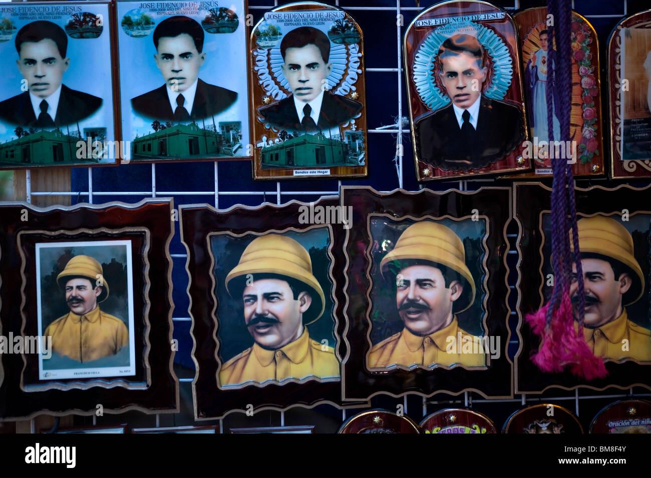 Souvenirs with the image of Nino Fidencio and Mexican revolutionary hero Francisco Villa sit for sale in Espinazo, - Stock Image