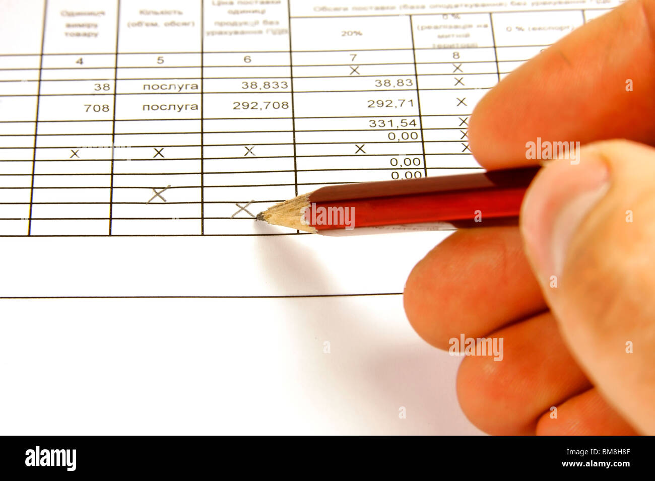 Filling of the financial reporting on business to the project - Stock Image