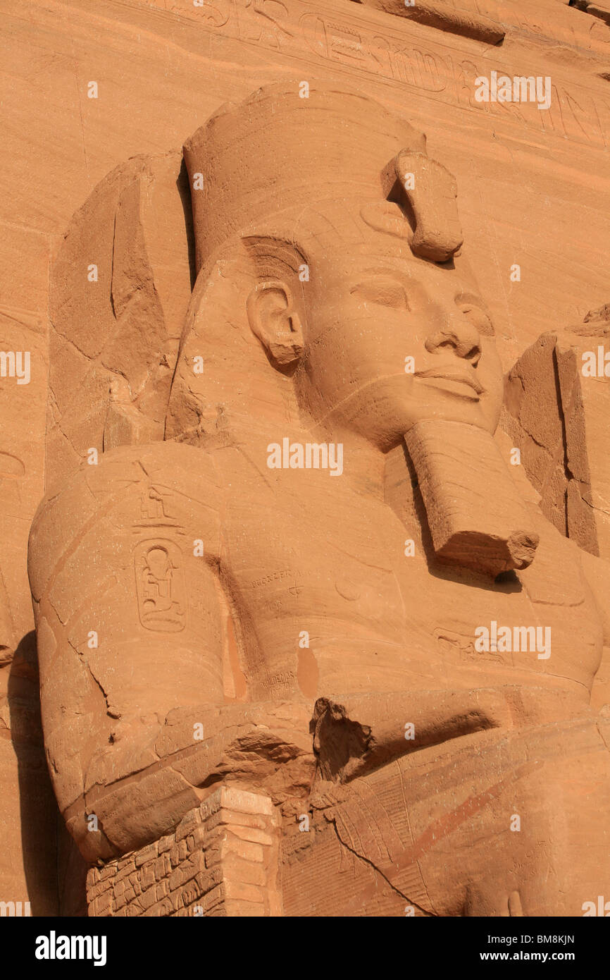 Statue of Ramesses II at the Great Temple in Abu Simbel, Egypt Stock Photo