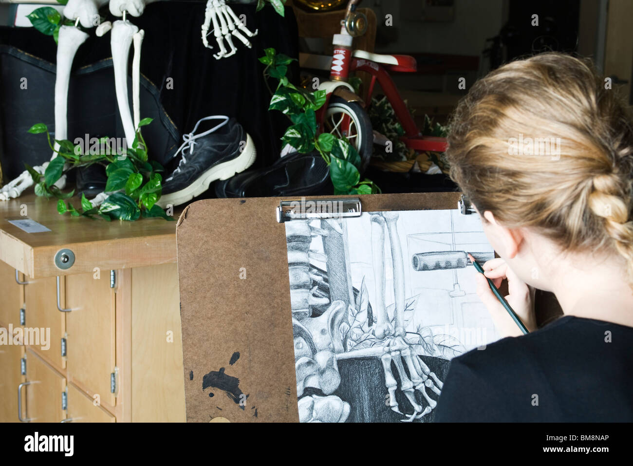 Artist drawing a still life scene - Stock Image