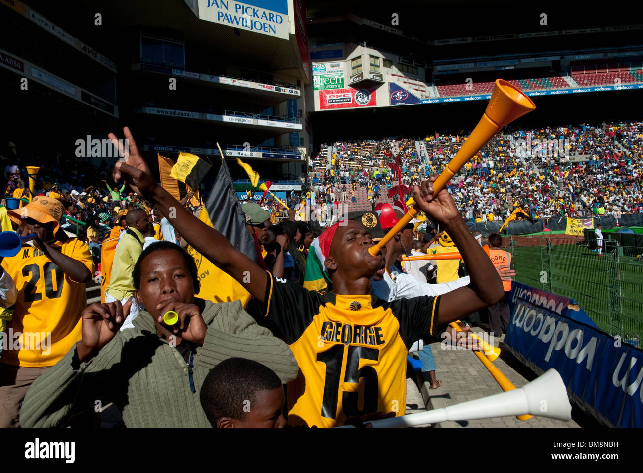 999dbe728fd Crowd scene football supporters with Vuvuzela Cape Town South Africa -  Stock Image