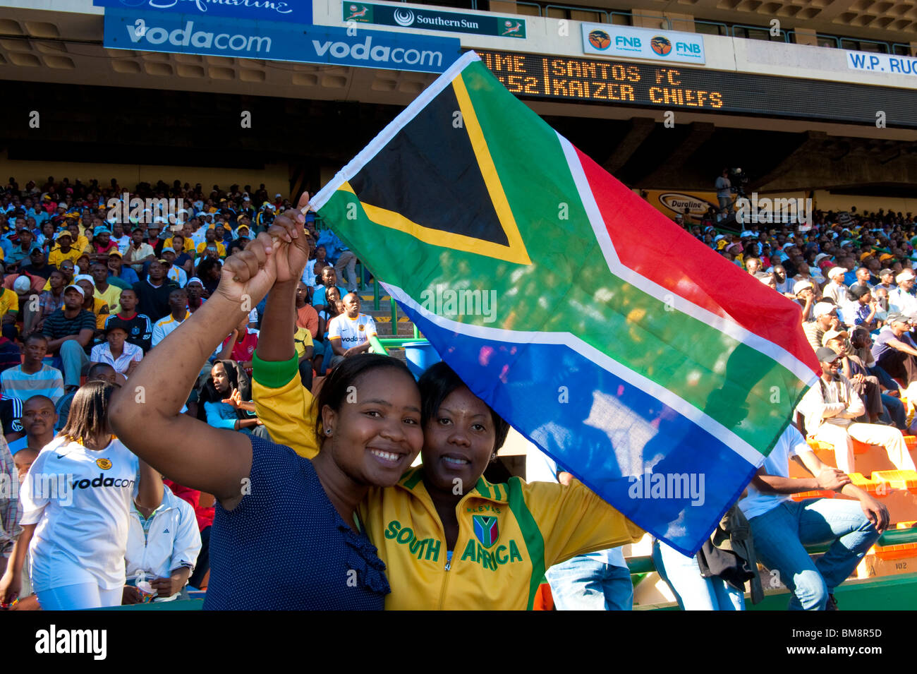 b4d8434f4db Crowd scene football supporters with national flag Cape Town South Africa -  Stock Image