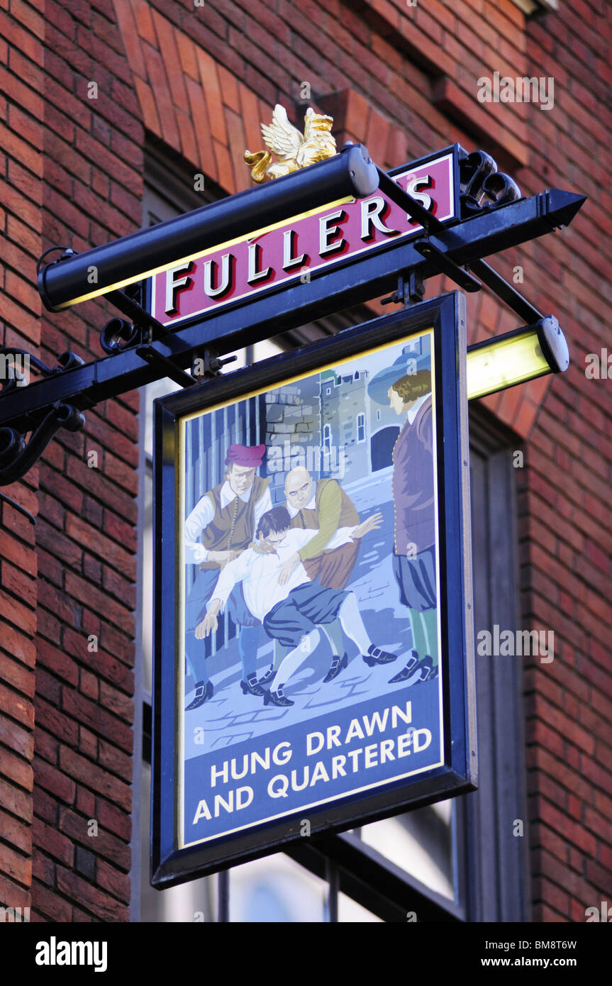 The Hung Drawn and Quartered pub sign, London, England, UK - Stock Image