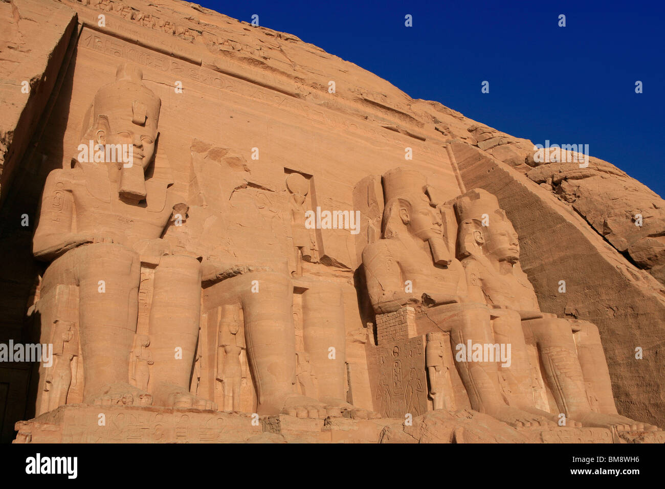 The Temple of 19th dynasty Egyptian Pharaoh Ramesses II at Abu Simbel, Egypt Stock Photo