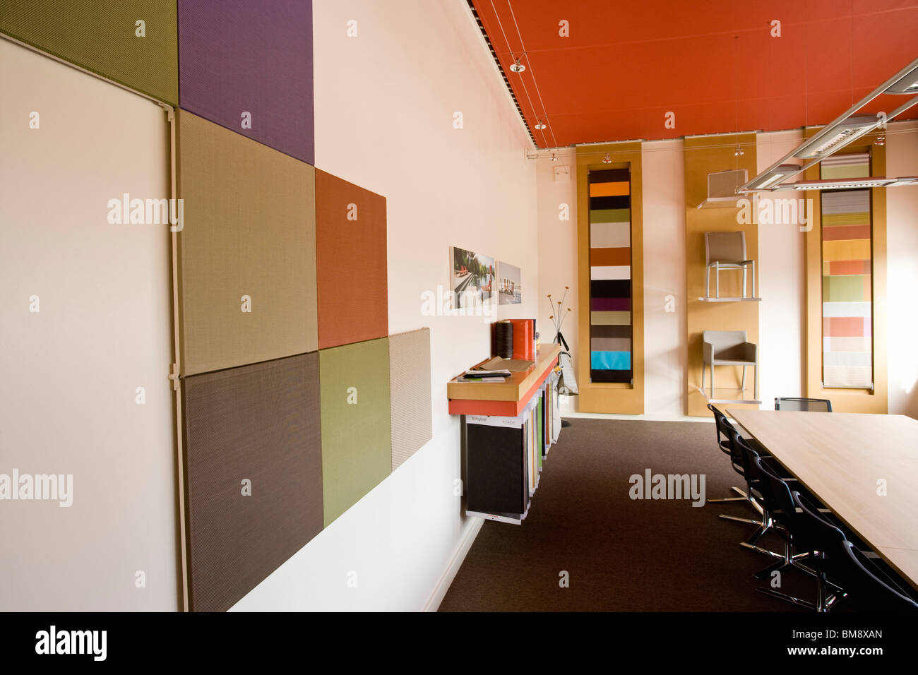 Fabric coating plant, recyclable composite textile weaving mill, show room - Stock Image