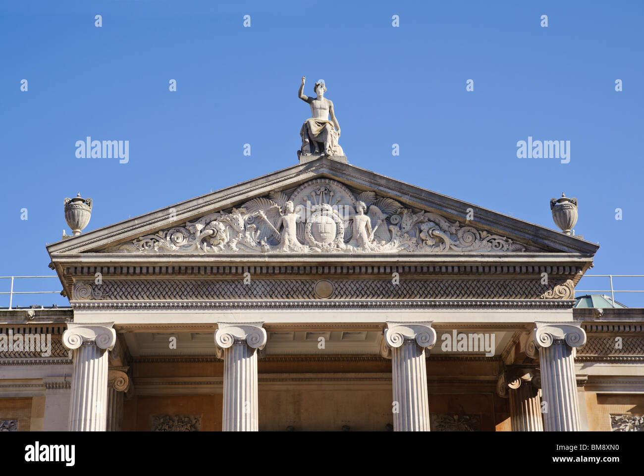 Pedimented facade of the Ashmolean Museum Oxford England - Stock Image
