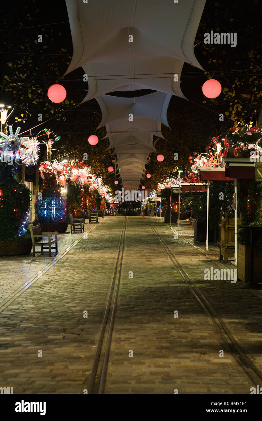 France, Paris, Bercy Village at night - Stock Image