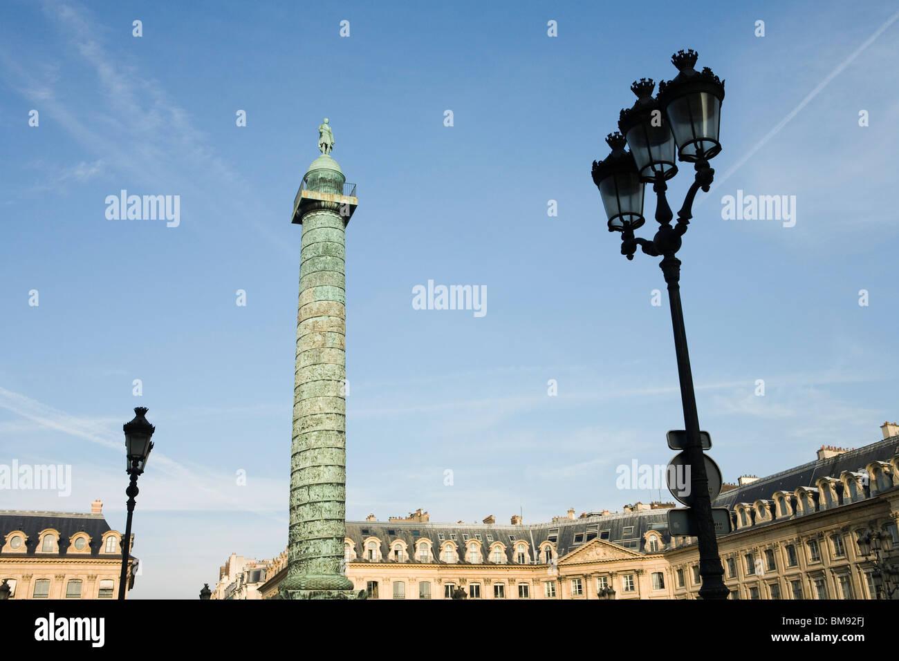 France, Paris, Place Vendome and the Colonne Vendome - Stock Image
