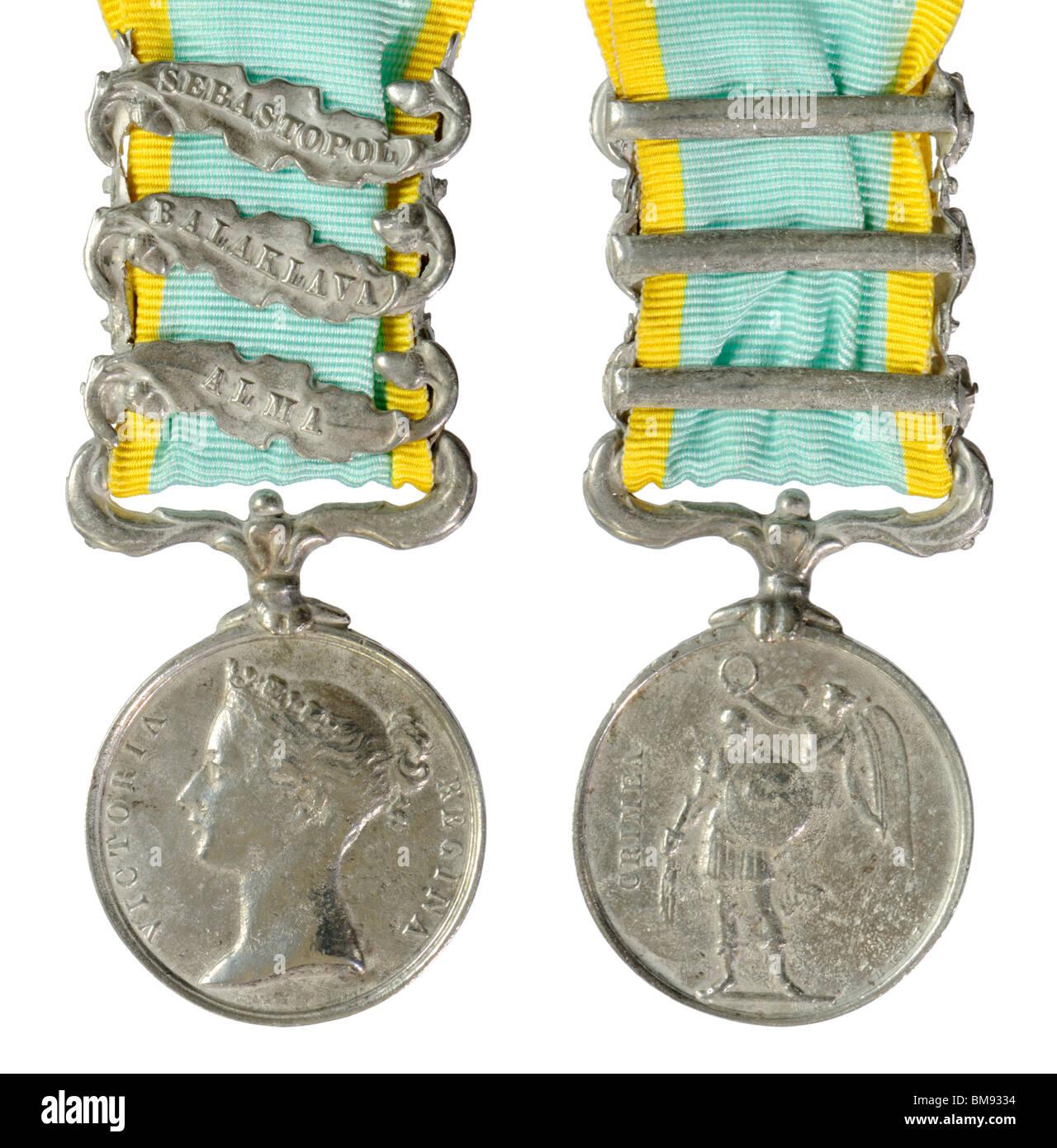 Crimean War Medal (Replica) with Sebastopol, Balaklava and Alma clasps - Stock Image