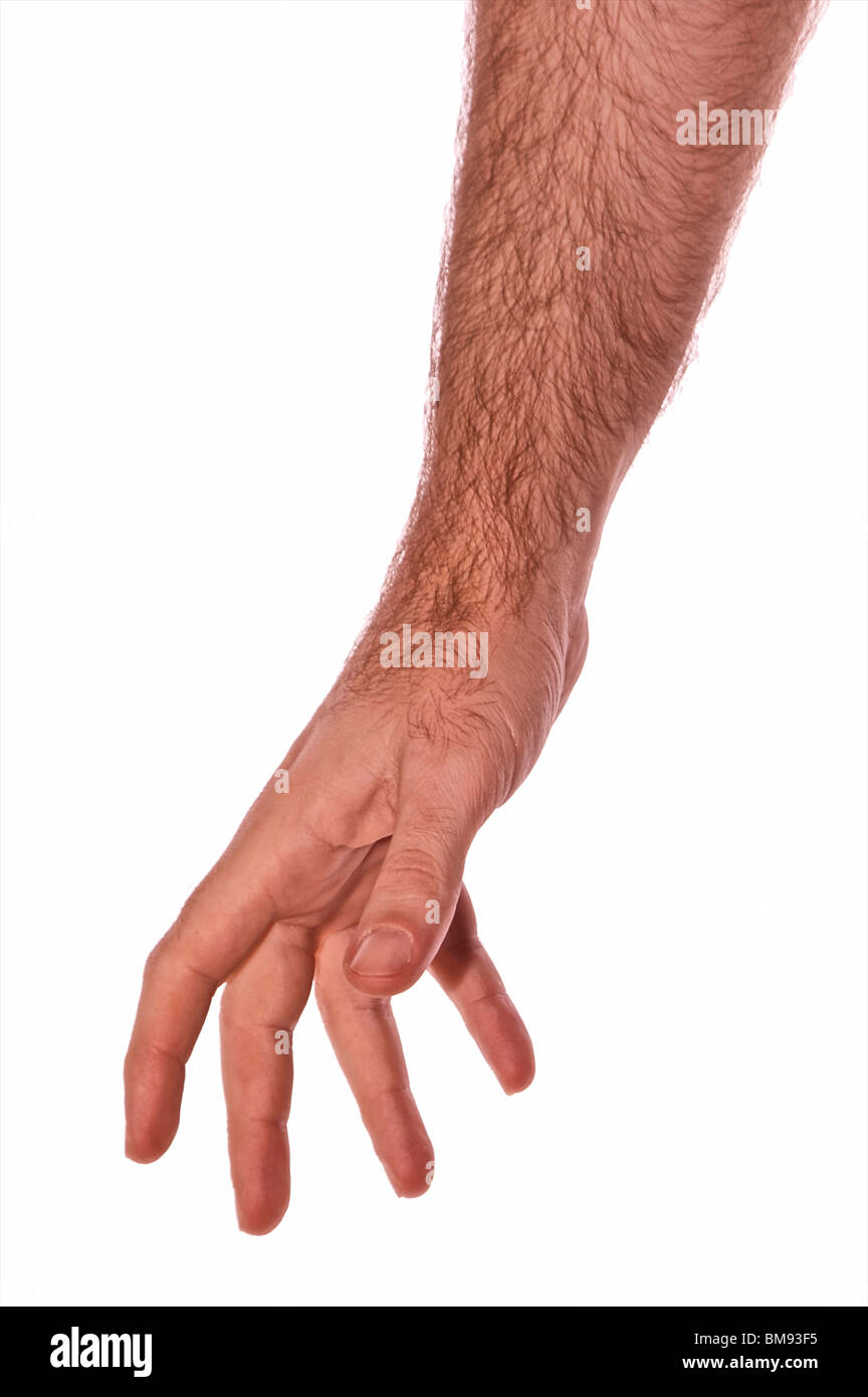 man arm reaching down isolated on white with fingers outstretched - Stock Image