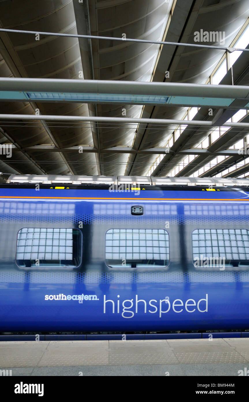 London, England, UK. St Pancras Station. Southeastern North Kent High speed train - Stock Image