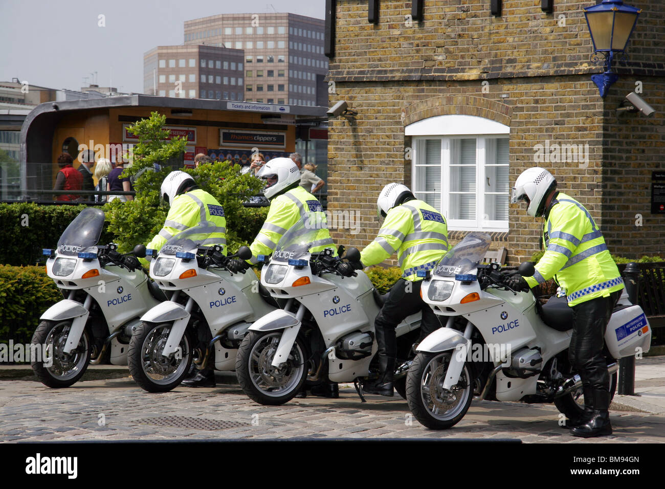 Metropolitan Police Special Escort Group motorcycle outriders. - Stock Image