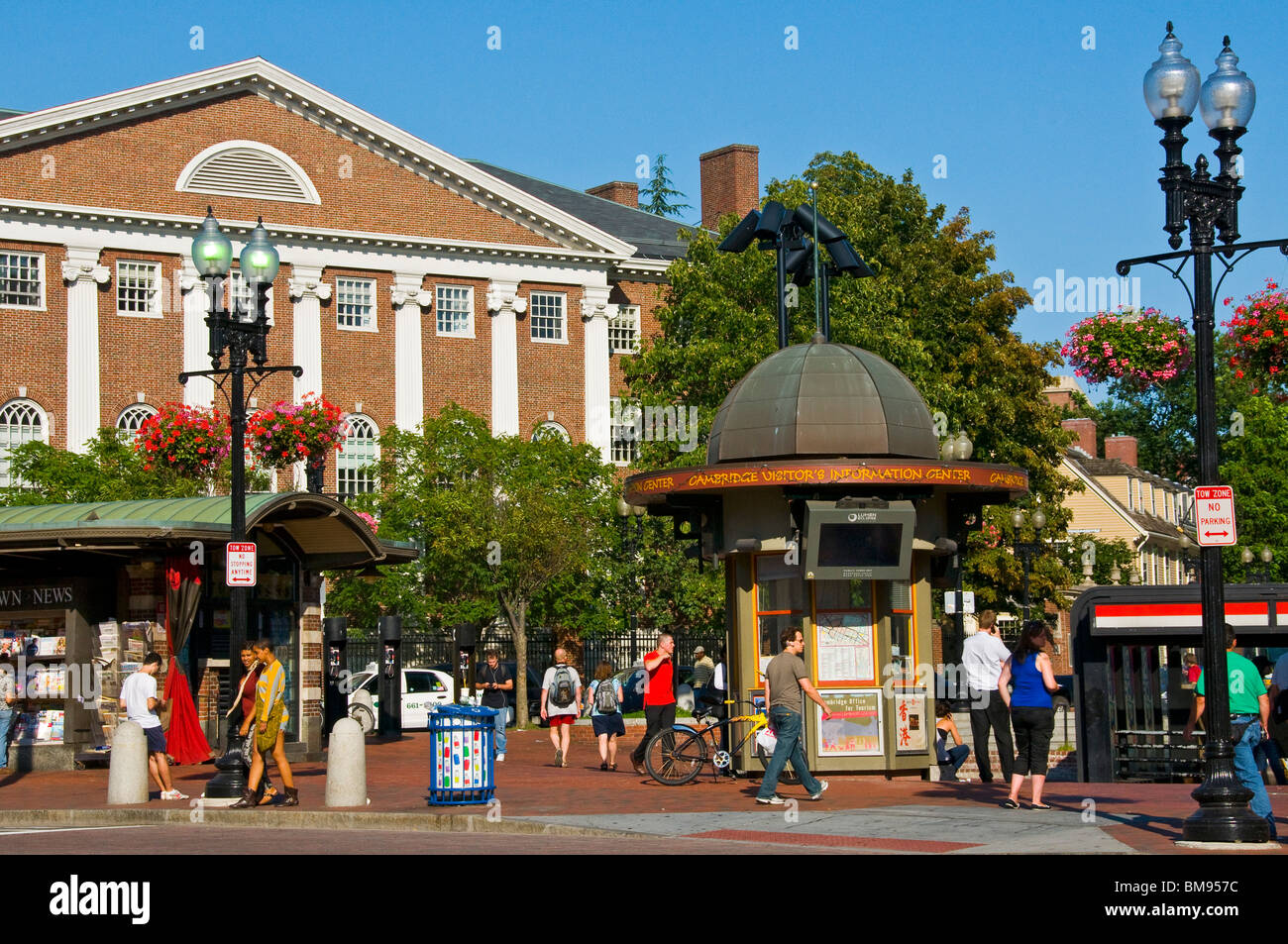Harvard square Cambridge Massachusetts - Stock Image