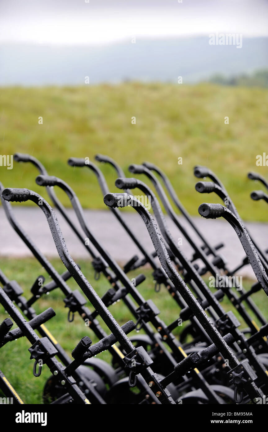 Spare golfing trolleys at The Celtic Manor Wales Open 2008 the venue for the 2010 Ryder Cup - Stock Image