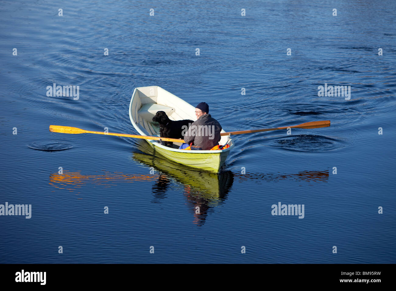 Man and black dog on a rowboat , Finland - Stock Image