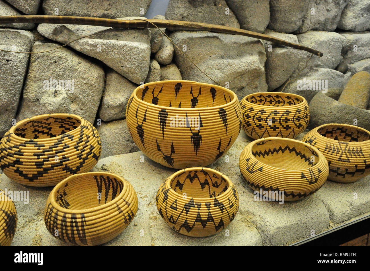 Native American baskets displayed at the Emigrant Trail Museum in Donner Memorial State Park, California - Stock Image