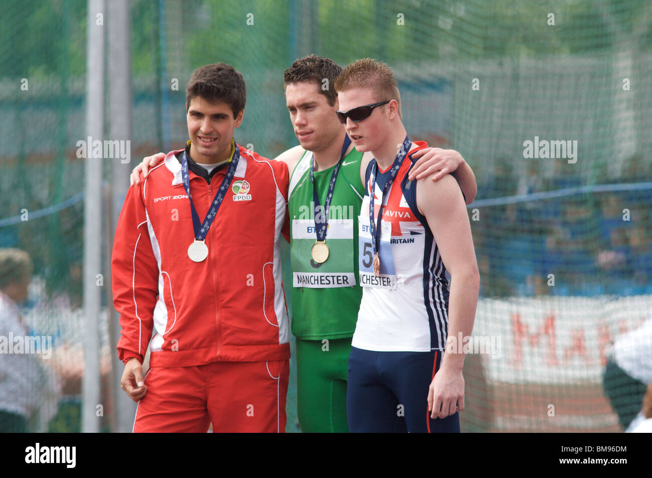 gold, silver and bronze medallists at the paralympic world cup held in manchester 2010 - Stock Image